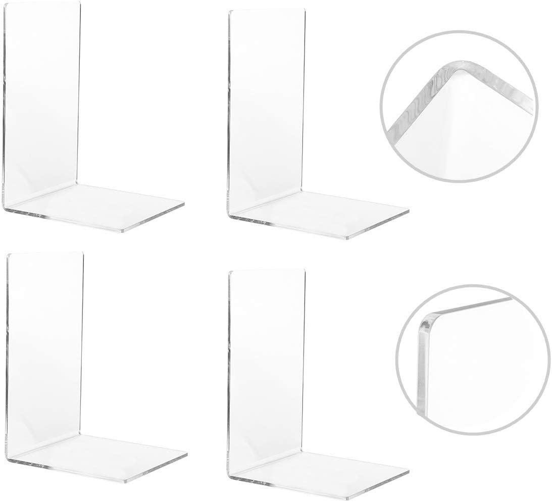 CY craft 4 Pieces Bookends Shelves for Acrylic Clear Popular shop is the lowest price challenge Max 81% OFF He
