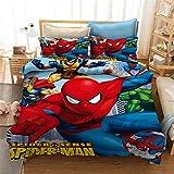 HLSM Spiderman Parure de lit 3D avec housse de couette et taies d'oreiller pour lit simple/double/king size en microfibre rouge (A02, 135 x 200 cm)