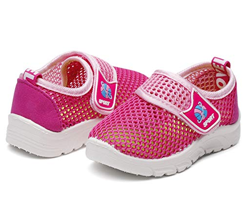 DADAWEN Baby's Boy's Girl's Water Shoes Breathable Mesh Running Sneakers Sandals for Beach Swimming Pool Rose Red US Size 6.5 M Toddler