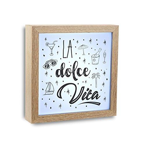 Versa Cuadro Luz Dolce Vita Madera Marrón 20x4x20 cm