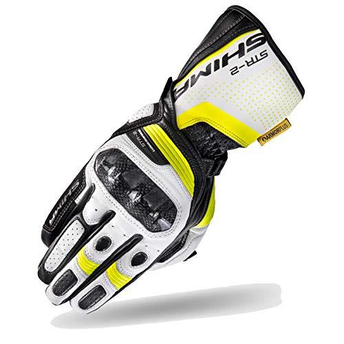 SHIMA STR-2, Motorrad Handschuhe Touchscreen Sommer Leder Sport Carbon Touchscreen Herren Motorradhandschuhe mit Protektoren, Fluo, Größe L