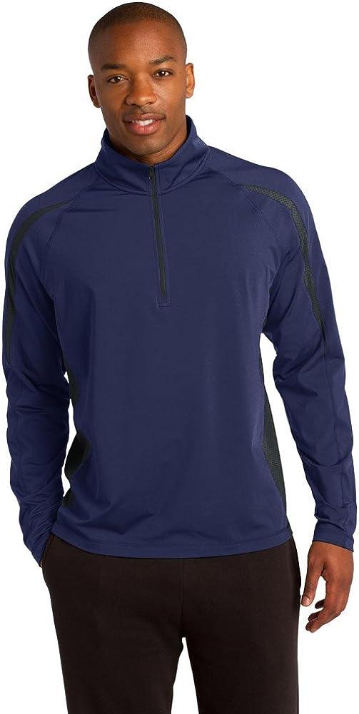 Sport-Tek Mens Sport-Wick Stretch 1/2-Zip Colorblock Pullover, 3XL, True Navy/ Charcoal Grey