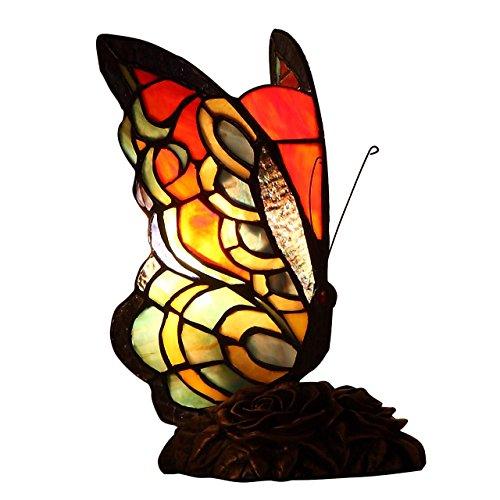 Bieye L30525 farfalla lampada da tavolo in stile tiffany accento lampada da tavolo luce notturna per soggiorno camera da letto comodino, alto 9 pollici