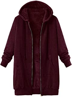 LOPELY Womens Hooded Jacket Teddy Fur Lining Teddy Fleece Top Full Zip Hoodie Sweatshirt Winter Warm Hooded Windbreaker Pl...