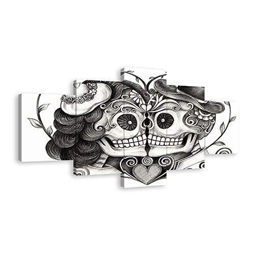 Skull Head Couple Love Wall Art