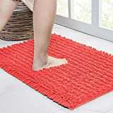 Walensee Bathroom Rug Non Slip Bath Mat (32x20 Inch Coral) Water Absorbent Super Soft Shaggy Chenille Machine Washable Dry Extra Thick Perfect Absorbant Best Large Plush Carpet for Shower Floor