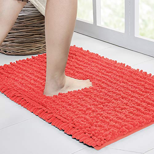 Walensee Bathroom Rug Non Slip Bath Mat (24x17 Inch Coral) Water Absorbent Super Soft Shaggy Chenille Machine Washable Dry Extra Thick Perfect Absorbant Best Small Plush Carpet for Shower Floor