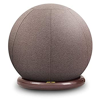 Sport Shiny Balance Ball Chair Junior,Flexible Seating Set for Kids,Yoga Ball with Machine Washable Slipcover,Ring Base Kit,Ergonomic Exercise Ball Chair,55cm Size,Grey,Quick Air Pump Included