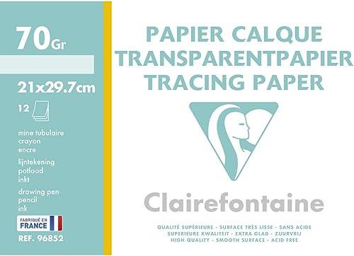 Clairefontaine 96852C - Une pochette de Calque supérieur 12 feuilles 21x29,7 cm 70/75g