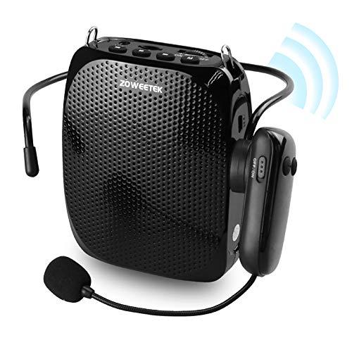 ZOWEETEK Inalámbrico Amplificador de Voz (10W) con 1800 mAh batería de Litio con Dos micrófono (Inalámbrico y Cable) Amplificador portatil para Aula, guía,reuniones y Actividades al Aire Libre etc