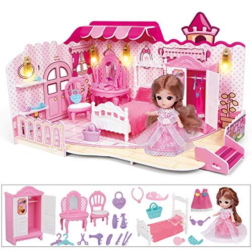 RuiDaXiang Puppenhaus, Schlafzimmer mit Möbeln, Beleuchtung, Minipuppe.Puppenhausspielzeug für Mädchen(Schlafzimmer-Rosa)