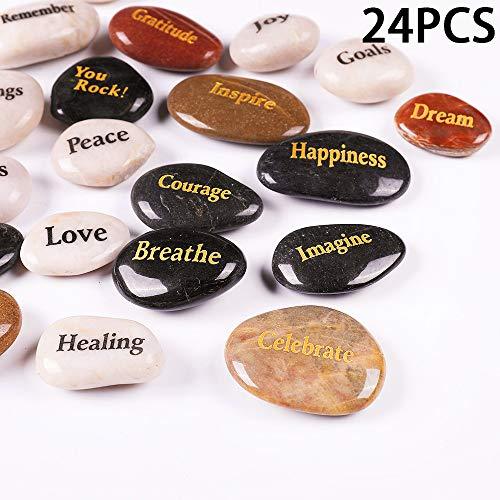 "ROCKIMPACT 24pcs Inspirational Faith Stones Novelty Engraved Shiny Polished Natural River Rocks Healing Stone Different Words (Wholesale Bulk lot, Set of 24, 2""-3"" Each)"