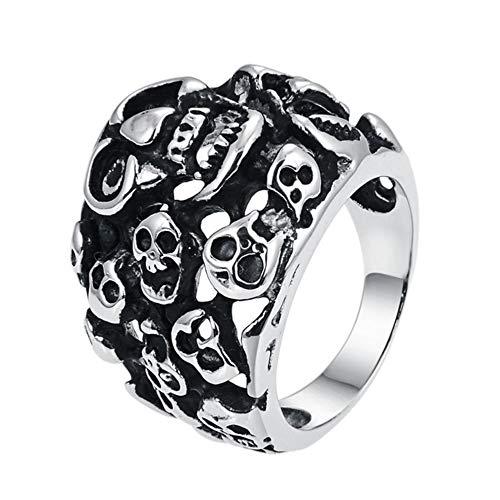 Vally Punk Skull Ring Vintage Skeleton Vampire Ring voor mannen RVS Silver Tone Biker Hiphop Rings Sieraden groothandel