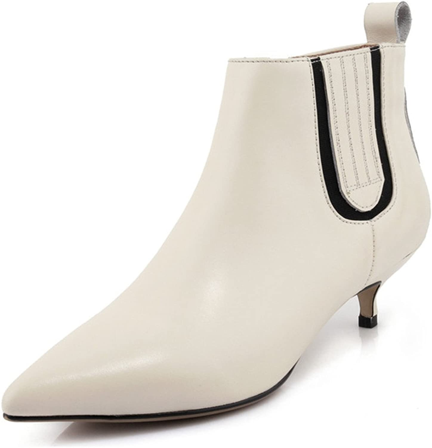 Nine Seven Genuine Leather Women's Pointed Toe Stiletto Heel Zip Handmade Dressy Ankle Booties