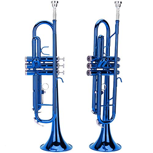 Blechbläser Trompete, Trompete flach Messing für Trompete Musik Blasinstrument In 3 verschiedenen Farben(blue)