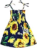 Casual Baby Girl Summer Beach Dress Outfits Kids Toddler Strap Elastic Sunflower Dress Playwear Clothes 130/5-6T