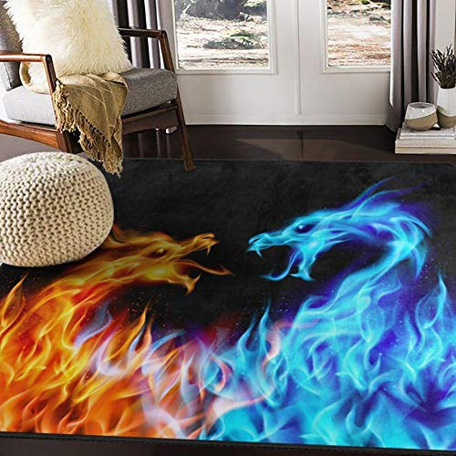 ALAZA Abstract Red Blue Fiery Dragon Area Rug for Living Room Bedroom 5'3