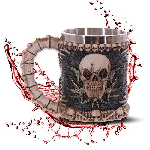 mtb more energy Jarra Skull & Bones - Taza Calavera cráneo - Decorazione Horror Medieval Fantástico