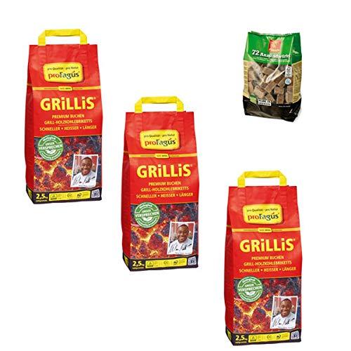proFagus Grillis 2,5 kg - Holzkohlebriketts (3er Set + 1x Grillanzünder!)