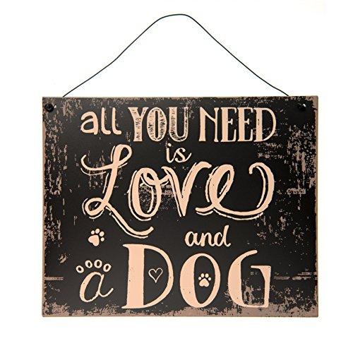 EC C&E Cane iebe Vintage Retro Metallo Segnale Modello all You Need is Love And A Dog, Materiale Ferro, Dimensioni 24 x 19 cm, Nero, Ideale per Bar, Cafe, Teiera, Cafeteria o Semplicemente a casa
