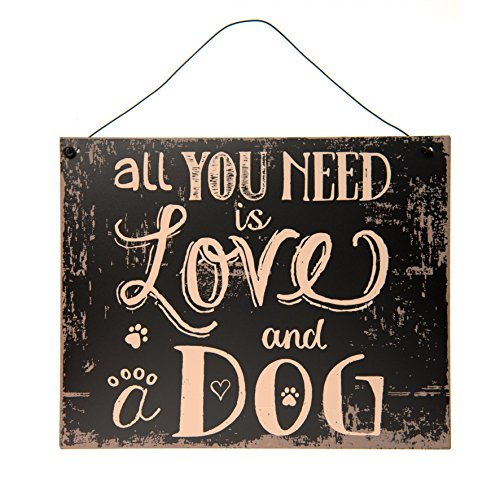 EC C&E Cane iebe Vintage Retro Metallo Segnale Modello all You Need is Love And A Dog, Materiale Ferro, Dimensioni 24 x 19 cm, Nero, Ideale per Bar, Cafe, Teiera, Cafeteria o Semplicemente a casa