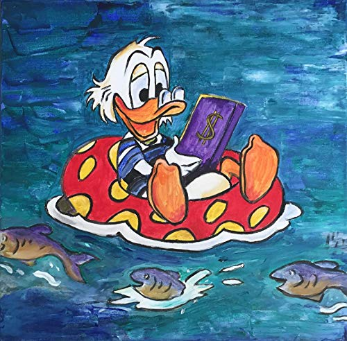 Original Gemälde, Acryl auf Leinwand - Dagobert Duck -Relax in the Pool - 40 cm x 40 cm, Handgemalt