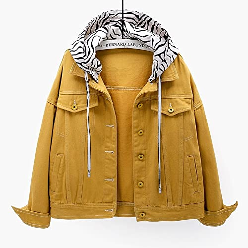 SHENSHI Jeansjacke Damen,Abnehmbare Kurze Jean Jackets Mantel Mit Kapuzenstreifen Und Kapuze, Gelb, X, Groß