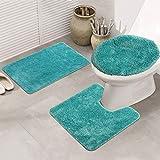 LAOSHIZI Alfombrillas de baño Suave Antideslizante Color sólido Juego de alfombras de baño de 3 Piezas Lago Verde