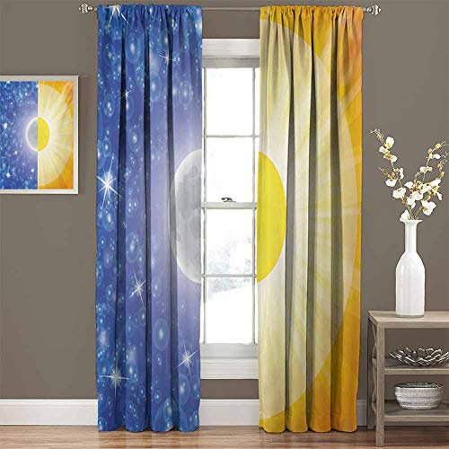 Thermal Insulated Blackout Curtains Split Design with Stars in The Sky and Sun Beams Solar Balance Nature Image Print Best Home Decoration, Set of 2 Panels (52 x 96 Inch