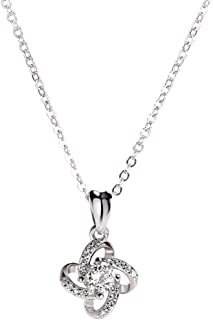 Daesar Sterling Silver Womens Necklace Letter N Rhinestones CZ White Pendant Necklace for Womens