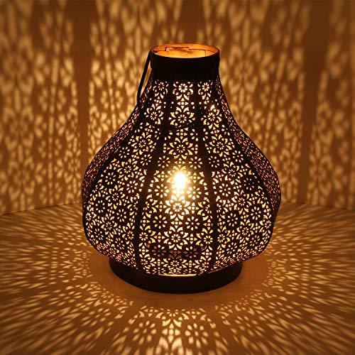 Casa Moro Orientalische Laterne Tahira L in Schwarz Höhe 32 cm aus Metall | Marokkanisches Windlicht | hängend & stehend | Schöne Tischlaterne für Hochzeit Feier Dekoration IRL3020