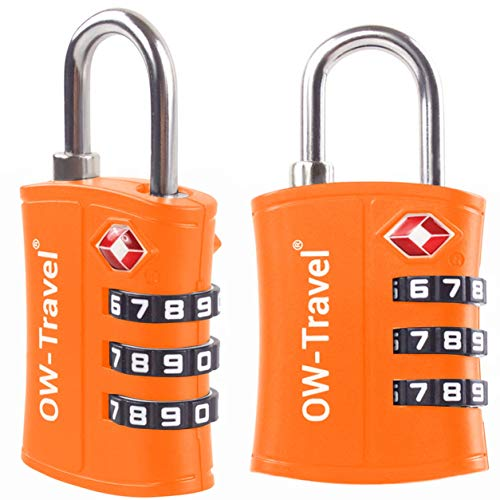 TSA Approved Luggage Locks (2 Pack) OW-Travel 3 Digit Security Padlock, Combination Padlocks, Code Lock for Suitcase, Zipper, Luggage, Bag, Case, Backpack, Gym Locker, Tool Box, Outdoor (Orange)