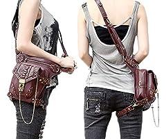 FiveloveTwo® Men Women Multi-purpose Tactical Drop Leg Arm Bag Pack Hip Belt Waist Messenger Shoulder Fanny Packs Steampunk Bag Wallet Purse Pouch Bag Red Brown #4