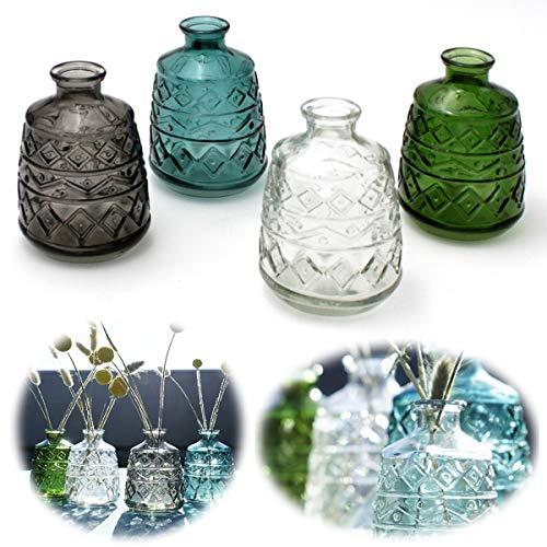 LS-LebenStil 4X Retro Glas-Vase 15x11cm Set Deko Tisch-Vase Blumenvase Mini Väschen Flaschen