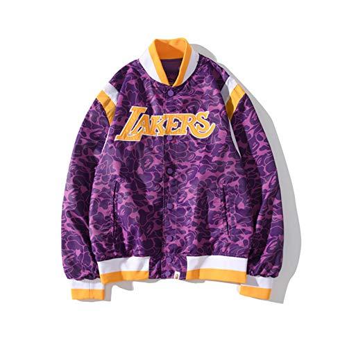 Los Angeles Laker Baseball Jacken Top für Herren - Basketball Trikots Unisex Retro Sportswear Schwarz Mamba Sweatshirt Pullover T-Shirts Druck Hoodies Gr. M, blau