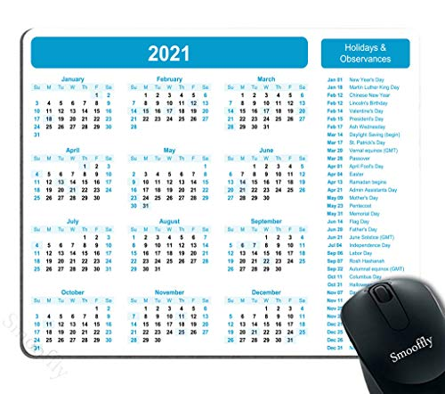 Smooffly 2021 Calendar Mouse pad Gaming Mouse pad Non Slip Rubber Mouse Pad Mousepad 9.5 X 7.9 Inch (240mmX200mmX3mm)