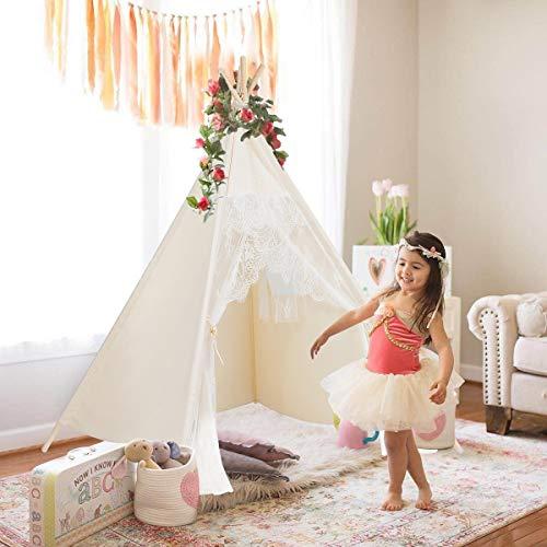Bekanntes Tipi-Zelt aus Spitze für Kinder, zusammenklappbar, Spielhaus mit Tasche für Zuhause, Outdoor, Weihnachten