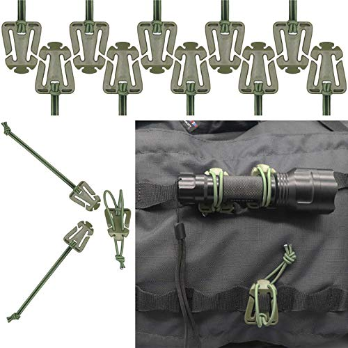 AKGUN 10Pcs Molle Web Dominator Tactical Strap with Elastic Cord Backpack and Molle Web Management Tool
