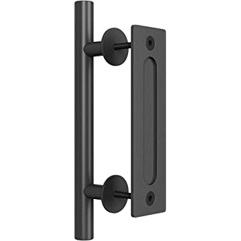 SMARTSTANDARD 12 Inch Sliding Barn Door Handle, Pull and Flush Hardware Set, Black Powder Coated Finish, Large Rustic Two-Side Design