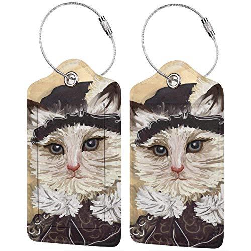 Bunte Kätzchen The Unknown Girl Cat Position Tags Tasche PU Leder Koffer Etiketten Design Reise mit Sichtschutz Rückseite mit Stahlschlaufen