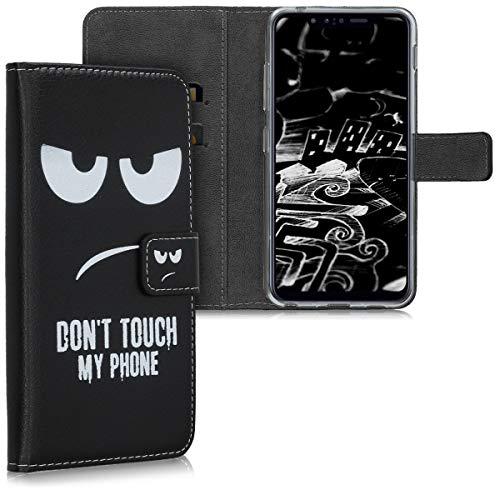 kwmobile Hülle kompatibel mit LG G8s ThinQ - Kunstleder Wallet Hülle mit Kartenfächern Stand Don't Touch My Phone Weiß Schwarz