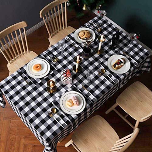 VIMUKUN Mantel a Cuadros navideños, Fiesta de Año Nuevo Fiesta Inicio Decoración Diaria Diseño Cena Mesa Cubierta 213x153cm Ideal para 4-6 Cubiertos Tartán Blanco Negro