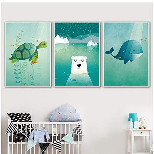 NIEMENGZHEN Druck auf Leinwand Cartoon Bear Turtle Sun Whale Poster und Drucke Wandkunst Leinwand Gemälde Wandbilder-50x70cm No Frame