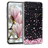 kwmobile Carcasa Compatible con Samsung Galaxy S10e - Funda de TPU y Flores Cerezo cayendo en Rosa Claro/marrón Oscuro/Transparente