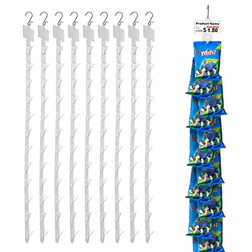 iziusy 10 Pieces Station Hanging Merchandise Strips with Hooks, Display Clip Strips for Retail Display with Label Header