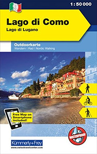 Lago di Como Lago di Lugano: Outdoor Karte Italien Nr. 9, 1:50 000 Freemap on Smartphone included (Kümmerly+Frey Outdoorkarte International)