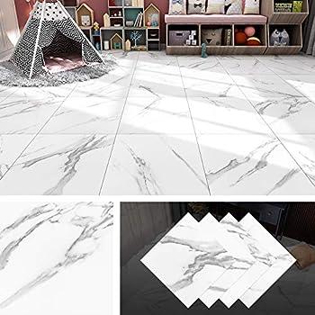 Livelynine White Peel and Stick Floor Tile Marble 12X12 Inch Waterproof Vinyl Floor Stickers Tile Peel and Stick Vinyl Flooring Tiles for Kitchen Flooring Walls Bedroom Bathroom Flooring 4 Pack