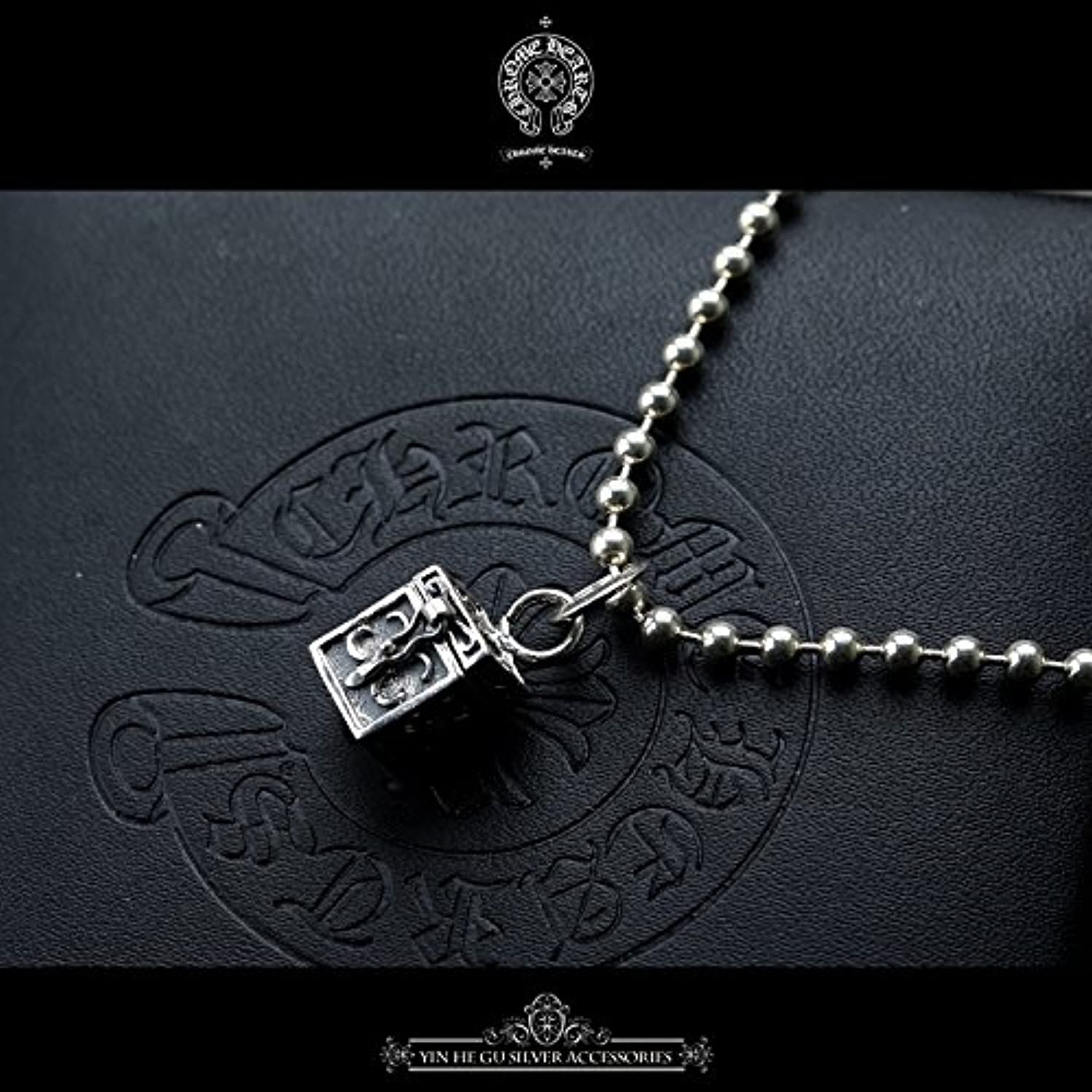 925 Silver Necklace Pendant Women Girls Models in Europe and America Tide Scout Flower Necklace Pendant Retro Small Treasure Chest Tide Brand Wind Silver Jewelry