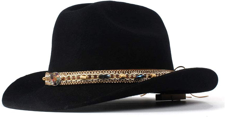 Cool Cowboy hat Spring Autumn Winter Ethnic Style Hat 100% Wool Cowboy Hat Men Women Hats with Tassel Belt Decoration Wide Brim Western Headwear Cap Elegant Cowgirl Hat