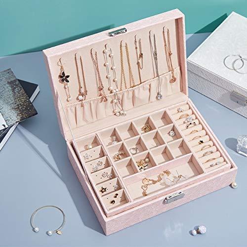 ZHS Caja de Almacenamiento de joyería de Cuero de Estilo Europeo clásico, Gran Espacio con Cerradura, Cofre de joyería de Lujo